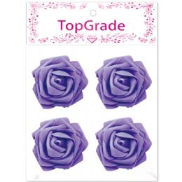 96 Units of Foam Rose In Purple - Craft Beads