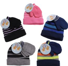 36 Units of Infant And Toddlers Winter Stripe Cuff Hat With Mitten Set - Winter Sets Scarves , Hats & Gloves