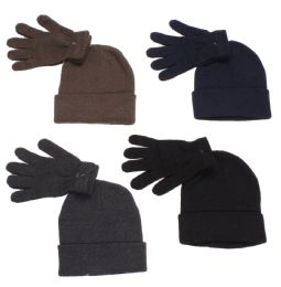 36 Units of Men's Two Piece Knit Hat And Glove Set Assorted Colors - Winter Sets Scarves , Hats & Gloves