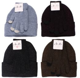 12 Units of Women's Sherpa Lining And Text Glove Set - Winter Sets Scarves , Hats & Gloves