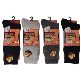 12 Units of Men's Polar Extreme Heat Thermal Socks 42% Wool Blend - Mens Thermal Sock