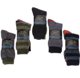 24 Units of Men's Two Pair Pack Outdoor Socks Assorted Patterns and Color - Mens Crew Socks