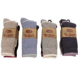 12 Units of Women Wool Blend Ultra Soft Boot Sock Two Pair Pack - Womens Thermal Socks