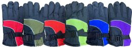 6 Units of Yacht & Smith Kids Ski Glove, Fleece Lined Water Resistant Bulk Kids Winter Gloves (6 PACK ASSORTED) - Kids Winter Gloves
