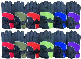12 Units of Yacht & Smith Kids Ski Glove, Fleece Lined Water Resistant Bulk Kids Winter Gloves (12 PACK ASSORTED) - Kids Winter Gloves