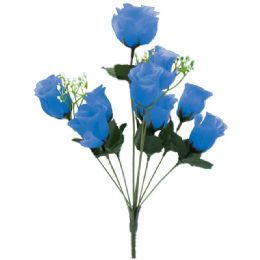 144 Units of 10 Head Rose In Blue - Artificial Flowers