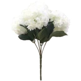 24 Units of 5 Head Flower In White - Artificial Flowers