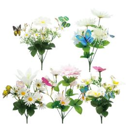 96 Units of 6 Head Flower Assorted Color - Artificial Flowers