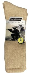 72 Units of Yacht & Smith Men's Army Socks, Military Grade Socks Size 10-13 Solid Khaki - Mens Crew Socks