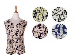 36 Units of Women's Elegant Floral Print Shirt Assorted Colors Sleeveless - Womens Fashion Tops