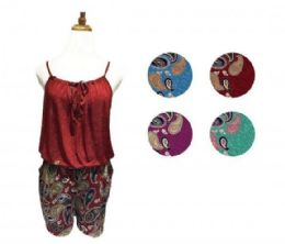 60 Units of Womens Strappy T Back Push up Tankini Top with Printed Shorts - Womens Rompers & Outfit Sets