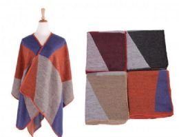 18 Units of Women's Color Block Shawl Wrap - Winter Pashminas and Ponchos