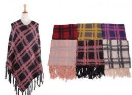 18 Units of Women's Cozy Warm Poncho Sweater Elegant Shawl Wrap - Winter Pashminas and Ponchos