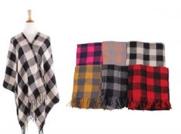 18 Units of Women's Plaid Sweater Poncho Cape Coat Open Front Blanket Shawls and Wraps - Winter Pashminas and Ponchos