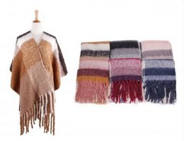 18 Units of Women Poncho Open Front Blanket Shawl Capes Knitted Sweater Cardigan Wraps - Winter Pashminas and Ponchos