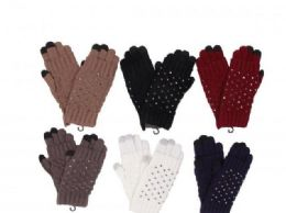 72 Units of Women Luxurious Rhinestones Winter Gloves Touchscreen - Conductive Texting Gloves