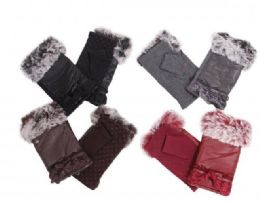 72 Units of Women's Faux Fur Winter Fingerless Gloves Lined Mittens Warm Wrist Hands Warmer - Conductive Texting Gloves