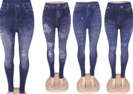 60 Units of Womens Mid Waist Stretch Jean Jegging - Womens Leggings