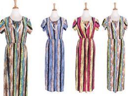 48 Units of Women's Short Sleeve Scoopneck A Line Dress - Womens Sundresses & Fashion