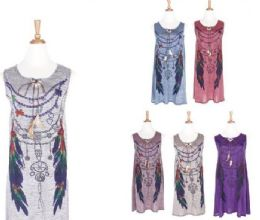 72 Units of Women Bohemian Neck Tie Vintage Printed Ethnic Style Summer Shift Dress - Womens Sundresses & Fashion