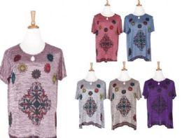 72 Units of Women Bohemian Neck Tie Vintage Printed Ethnic Style Summer Fashion Shirt - Womens Fashion Tops