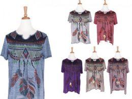 72 Units of Cute Bohemian Wild Boho With Feathers T Shirt - Womens Fashion Tops