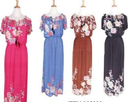 72 Units of Women Summer Short Sleeve Loose Casual Long Floral Home Dress - Womens Sundresses & Fashion