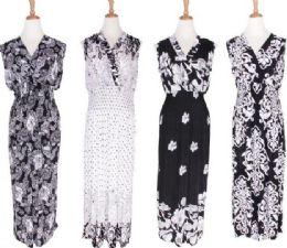 48 Units of Women's Sleeveless V Neck Maxi Dress In Assorted Pattern - Womens Sundresses & Fashion