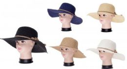 36 Units of Women Summer Wide Brim Panama Fedora Foldable Packable Straw Beach Hat - Sun Hats