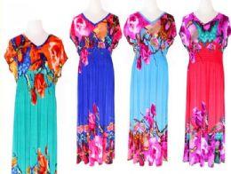 72 Units of Womens Summer Contrast Sleeveless Floral Print Maxi Dress - Womens Sundresses & Fashion
