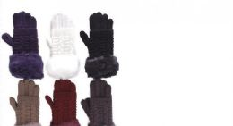 72 Units of Women Cable Knit Winter Warm AntI-Slip Touchscreen Texting Gloves - Conductive Texting Gloves