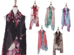 120 Units of Women Lightweight Print Floral Pattern Scarf Shawl Fashion Scarves - Womens Fashion Scarves