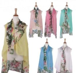 120 Units of Women Floral Print Lightweight Scarf Vest - Winter Pashminas and Ponchos