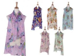 120 Units of Womens Printed Open Front Drape Cardigan Scarf Vest - Winter Pashminas and Ponchos