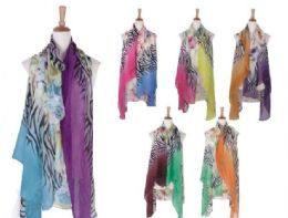 120 Units of Womens Animal Printed Open Front Drape Cardigan Scarf Vest - Winter Pashminas and Ponchos