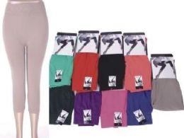 72 Units of Women's Assorted Color Capri Leggings - Womens Leggings