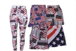 72 Units of Women's Assorted American Flag Patriotic Leggings - Womens Leggings