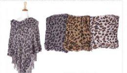 18 Units of Women's Cozy Warm Printed Poncho Sweater Elegant Shawl - Winter Pashminas and Ponchos