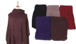 18 Units of Women's Cozy Warm Poncho Sweater Elegant Shawl - Winter Pashminas and Ponchos