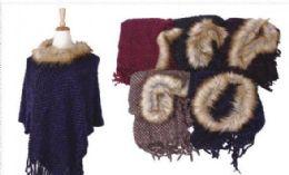 18 Units of Women's Cozy Warm Poncho Sweater Faux Trim Dress Topper Poncho - Winter Pashminas and Ponchos