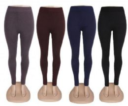 48 Units of Womens High Waist Basic Solid Cotton Full Ankle Length Leggings - Womens Leggings