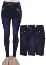 48 Units of Women's Soft Daily Stretch Denim Jeggings Pants with Pockets - Womens Leggings