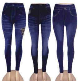 48 Units of Women's Denim Leggings With Pockets - Womens Leggings