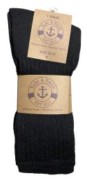 36 Units of Yacht & Smith Mens Terry Line Merino Wool Thick Thermal Boot Socks, Solid Black - Mens Thermal Sock