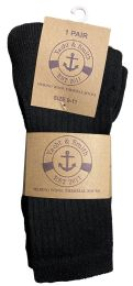 36 Units of Yacht & Smith Womens Terry Line Merino Wool Thick Thermal Boot Socks, Solid Black - Womens Thermal Socks