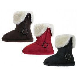 24 Units of Youths Micro Suede Foldover Boots With Faux Fur Lining And Side Zipper - Girls Boots