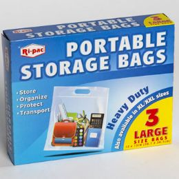 24 Units of Storage Bags Portable 3ct Large - Storage & Organization