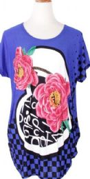 60 Units of Women Casual Floral Print Blouses Tops Short Sleeve Round Neck T Shirt Blouse Tee - Womens Fashion Tops