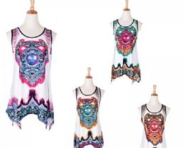 60 Units of Women's Printed Loose Casual Flowy Tunic Tank Top - Womens Fashion Tops
