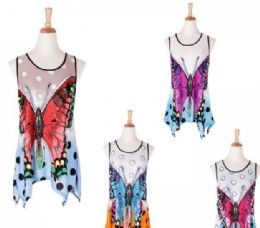 60 Units of Women's Butterfly Printed Loose Casual Flowy Tunic Tank Top - Womens Fashion Tops